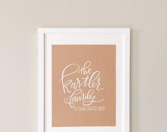 Custom Family est Sign - handlettered calligraphy