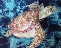 Sea turtle paper mache sculpture red brown and a touch of gold