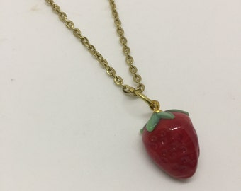 Yum Yum Juicy Strawberry on Gold Necklace by oldmanwithers