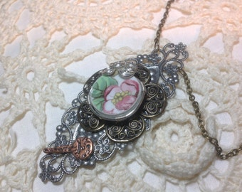 Victorian style china plate necklace