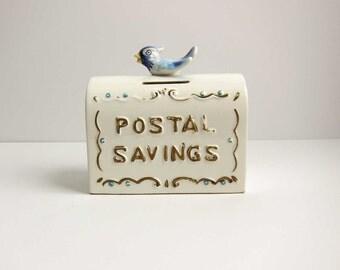 Vintage Enesco 3201 US Mail Postal Saving Blue Bird Piggy Bank - Hand Painted Japan Ceramic Mailbox Coin Bank