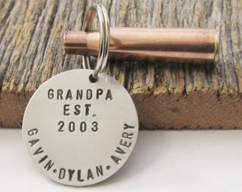 Christmas Gift for Hunters Stamped Keychain Gift for Grandpa Gift for Husband Gift for Grandfather Christmas Present New Parent Keyring Papa