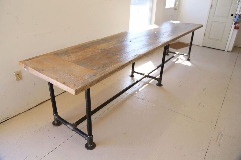 Reclaimed Wood Desk Dining Table12 Foot X3ft Industrial Pipe