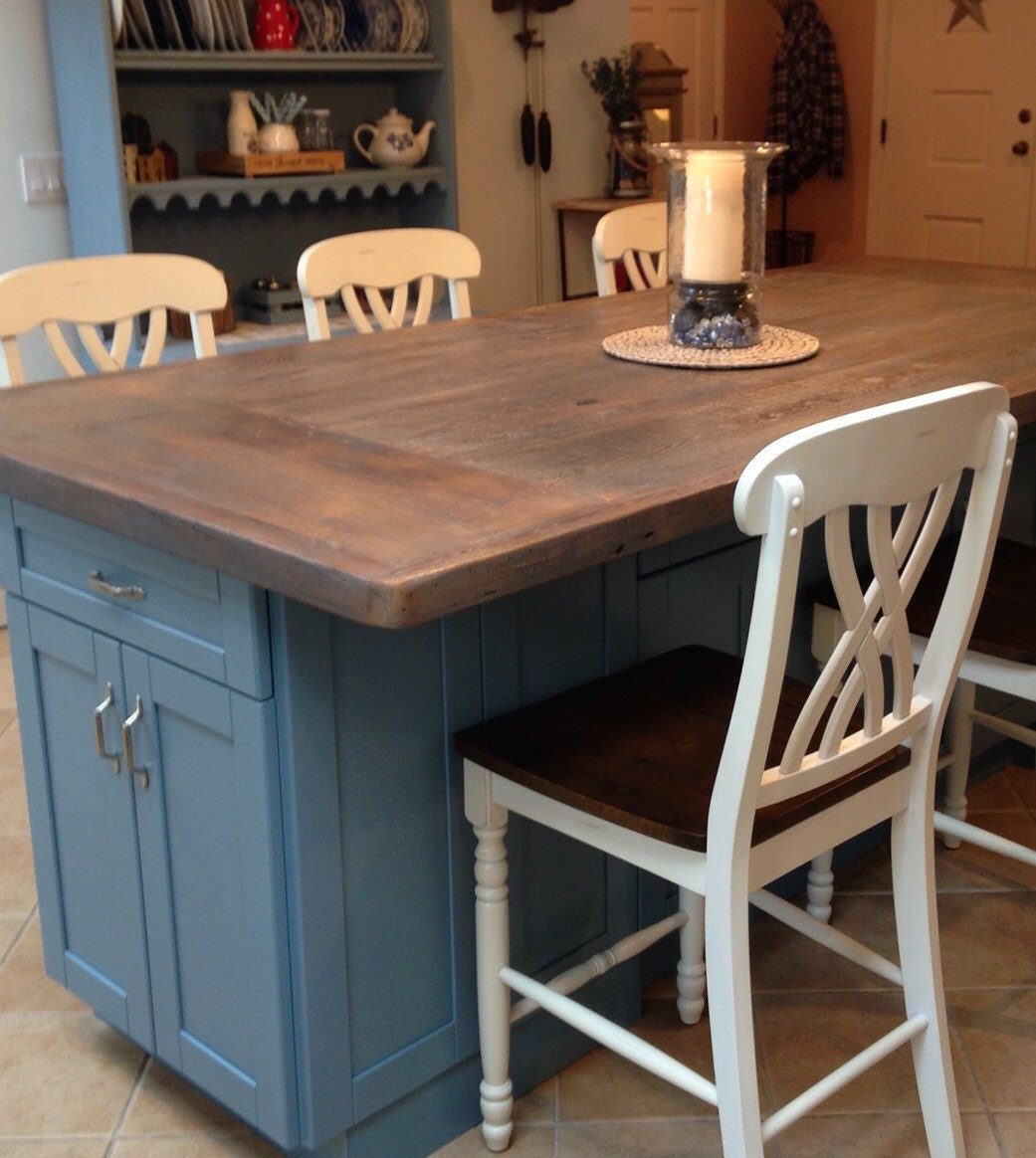 kitchen island reclaimed wood counter top rustic weathered