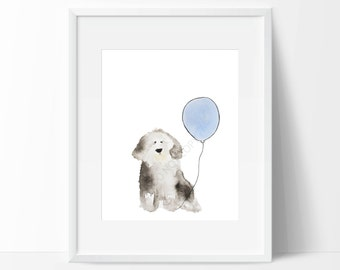 "Old English Sheepdog Watercolour ""Blue Balloon"""