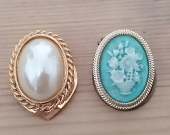 two vintage scarf clips