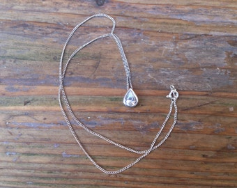vintage sterling silver cubic zirconia tear drop pendant and chain