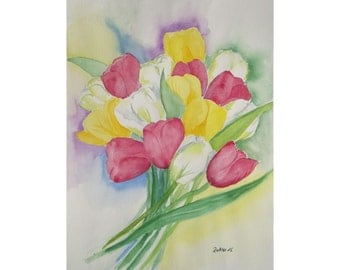Flower Painting of red, white, yellow Tulips,  Watercolor Original, Spring Flowers