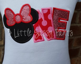 One Birthday Shirt-Minnie Mouse Birthday Shirt- Custom Applique Birthday Shirt- Embroidered- Minnie Mouse- First Birthday Shirt- Red Pink