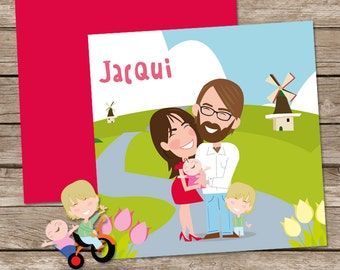 Custom birth announcements, a cartoon portrait of your family