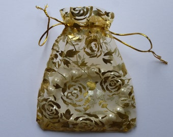 Organza bags. Gold rose gift, pouch, bag for  jewellery, wedding favours. Approx  10mm x 12mm.   4 inch x 5 inch.  Set of 10