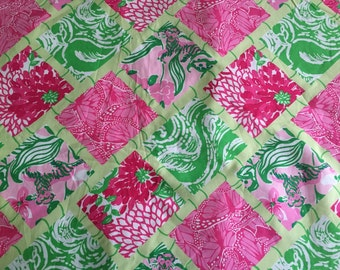 3 patches of Lilly Pulitzer Fabric Jubilee Bamboo Patch (2009, white zin, tiger lily) - Perfect for Greek / Sorority Fabric Letters