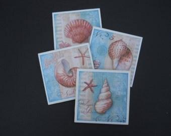 Sea Shell Coasters ~ Ceramic Tile Coasters ~ Beach Decor ~ Home Decor ~ Drink Coasters ~ Housewarming Gift ~ Shower Gift ~ Bar Coasters