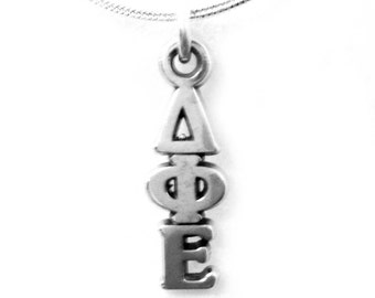Delta Phi Epsilon Sterling Silver Sorority Lavalier Hand Made With Chain