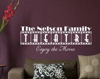 Custom Text Theater Movie Vinyl Wall Art Sticker Decal Home Decor Sharp Ver. 6