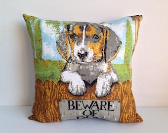 SALE Cushion cover Puppy dog decor vintage linen pillow