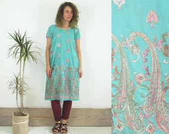90's vintage women's blue embroidered  traditional Indian kurti tunic/ dress