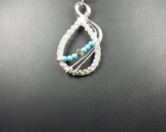 Wire Wrap with Turquoise Bead Pendant