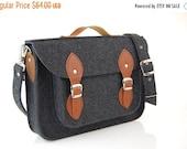 Winter Sale 40% Laptop bag 13 in, felt satchel, macbook pro, macbook air 13 inch sleeve, case, bag with leather strap buckle