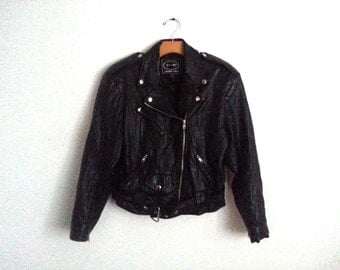 Vintage Women's Black Leather Biker Jacket  XS Extra Small