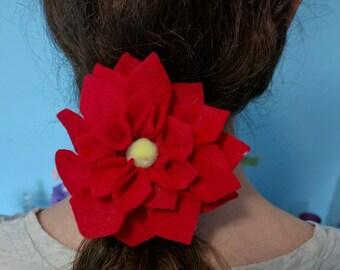 Felt Flower Dahlia Hair Tie