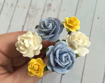 Flower Hair Pin Gift Set ~ White, Blue and Yellow ~ for Holidays and Special Occasions