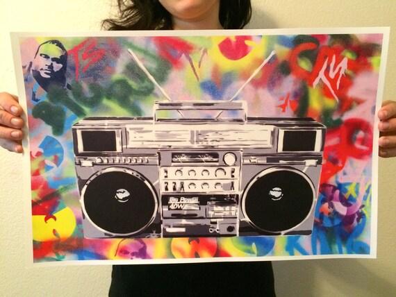 Boombox Pop Art Boom 11x17 print Boomb...