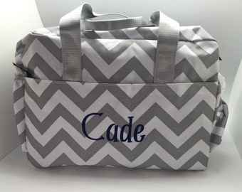 Grey chevron large roomy diaper bag monogram baby boy girl name personalized girl gift