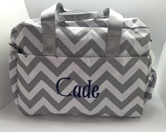 Monogram diaper bag girl diaper bags baby girl diaper bag grey chevron large roomy diaper bag monogram baby boy girl name personalized girl gift negle Image collections