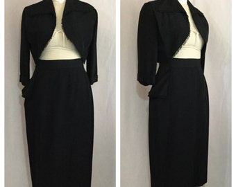 Vintage 1950's Black Gabardine Skirt and Bolero Jacket Set