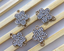 5pcs Gold Plated  metal rhinestone daisy flower connector  for daisy flower jewelry, findings