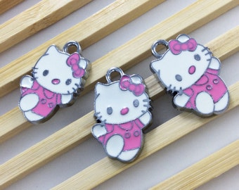 10  pcs kitty Charms ,Hello kitty pendant colors enamel  15mm *25m
