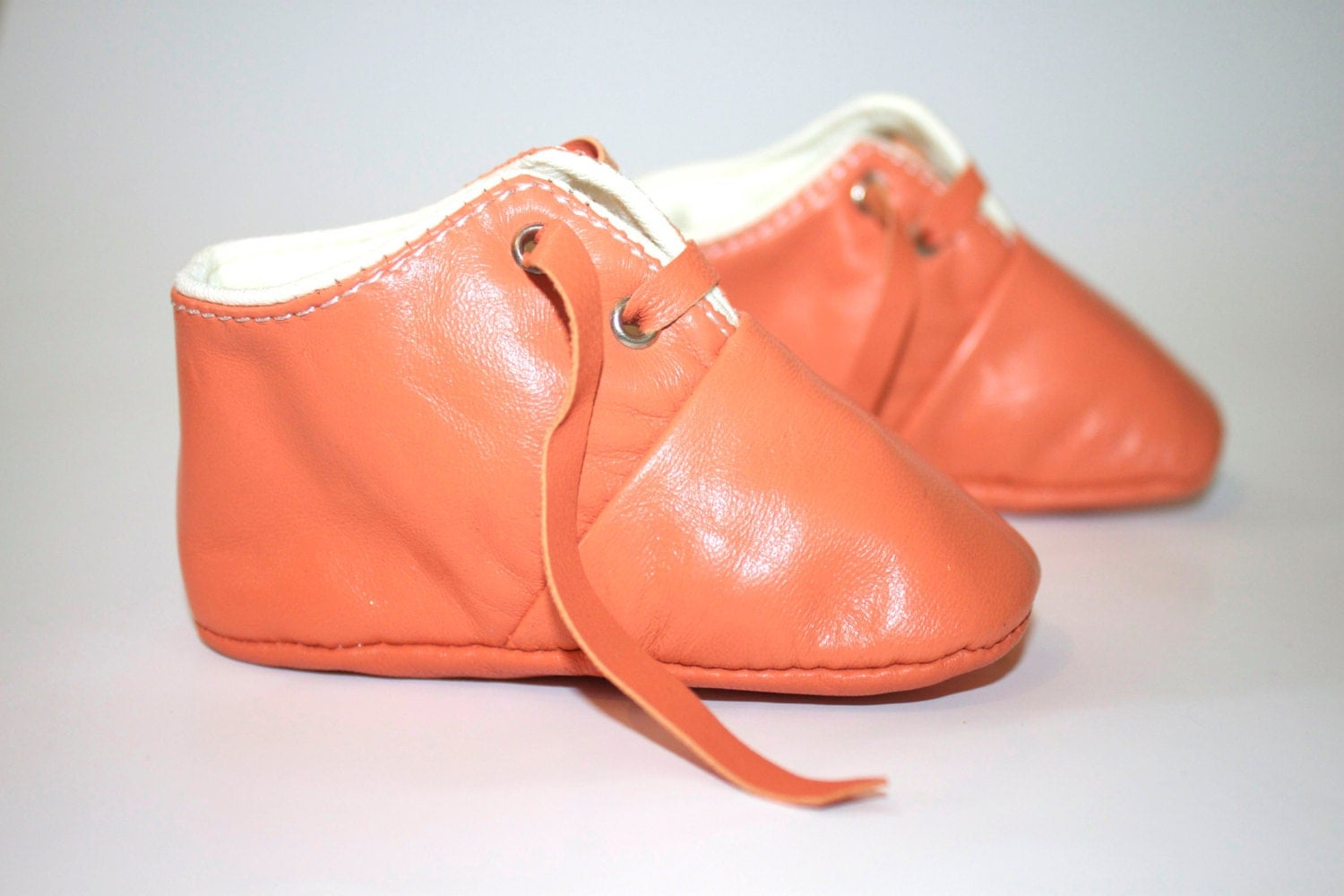 12 18 Months Slippers Baby Shoes Lamb Leather orange peach