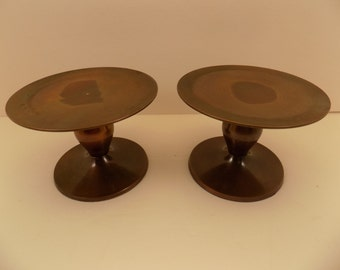 Vintage Heavy Solid Brass Pedestal Candle Holders with Felt Bottom for Protection of Furniture Identical Set of 2