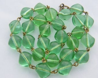 Art Deco Necklace Irregular Green Glass Beads and Wire