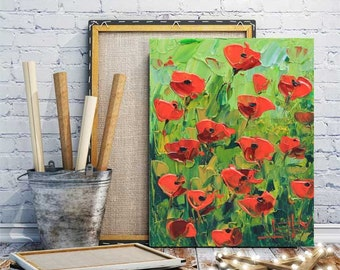 Poppy Painting, Poppy Art, Red Poppies, Original Art, Oil Painting, Palette Knife, 8x10, Acrylic Painting, by a San Francisco bay artist