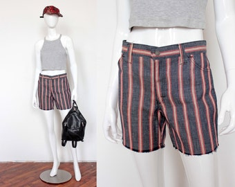 Vintage 1970's Striped Denim Cut Off Shorts
