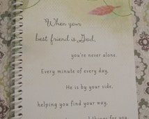 NEVER ALONE Christian JOURNAL Illustrative Notebook - Repurposed From A Greeting Card - Lovely Gift Idea