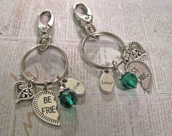 TWO BEST FRiENDS Key Chains - One For You and One For Your BFF - You Choose Bead Color