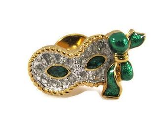 Swarovski Rhinestone Mardi Gras Mask Pin