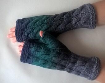 Multicolor ( GRAY, GREEN ) fingerless gloves, wrist warmers, fingerless mittens. Handmade, knitted of 100 %  WOOL.