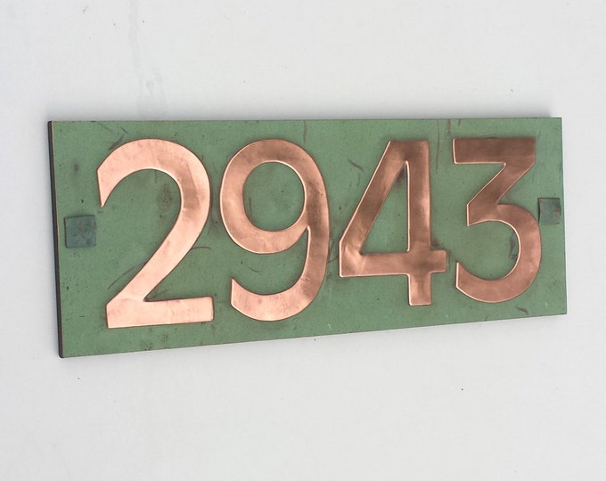 "Modern House numbers in Antigoni 3""/75mm, 4""/100 mm with plywood back, 4 x nos. sans serif font in copper, screw fitting g"