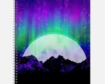 Under the Northern Lights Notebook, Waterproof Cover, Journal, Aurora Borealis Notebook, Moonlight Journal, School Supplies, College Ruled