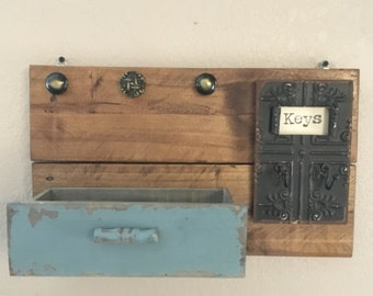 Rustic Key and Mail Wall Shelf!!!