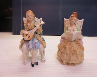 Pair Thames Victorian Couple, Sitting - Porcelain Lace - Japan - Original Label