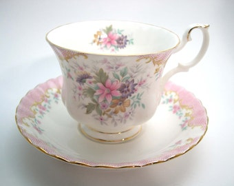 Mint Royal Albert Tea Cup And Saucer, White and Pink Royal Albert Serenity, Royal Albert Floral teacup and Saucer.