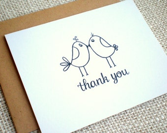 Lovebirds Thank You Notes - Set of 10 Hand Drawn Lovebirds Simple Wedding Thank You Note Cards - Engagement, Bridal, Wedding Thank You