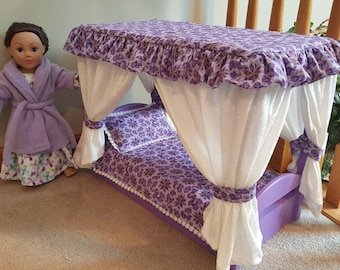 Canopy Bed for American Girl Doll (purple)