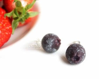 Blueberry Earrings,Blueberry jewelry,Small Studs,Berry Earrings,Spring Earrings,Summer Earrings,Fruit Studs,Fruit stud earrings,purple studs