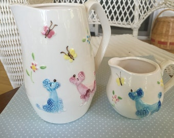 Blue Pink Poodle Pitcher and Creamer